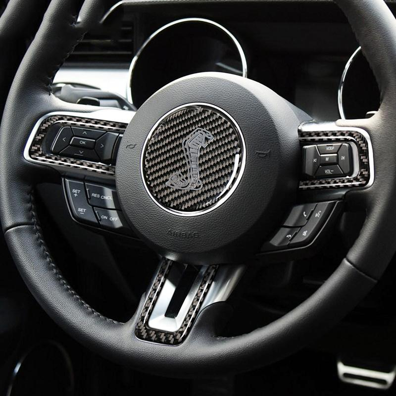 dc9b7fa641c535 2019 Mustang Carbon Fiber Steering Wheel Cobra Shelby Logo Emblem Sticker  Car Styling For Ford Mustang 2015 2016 2017 Car Accessories From  Sq_trading, ...
