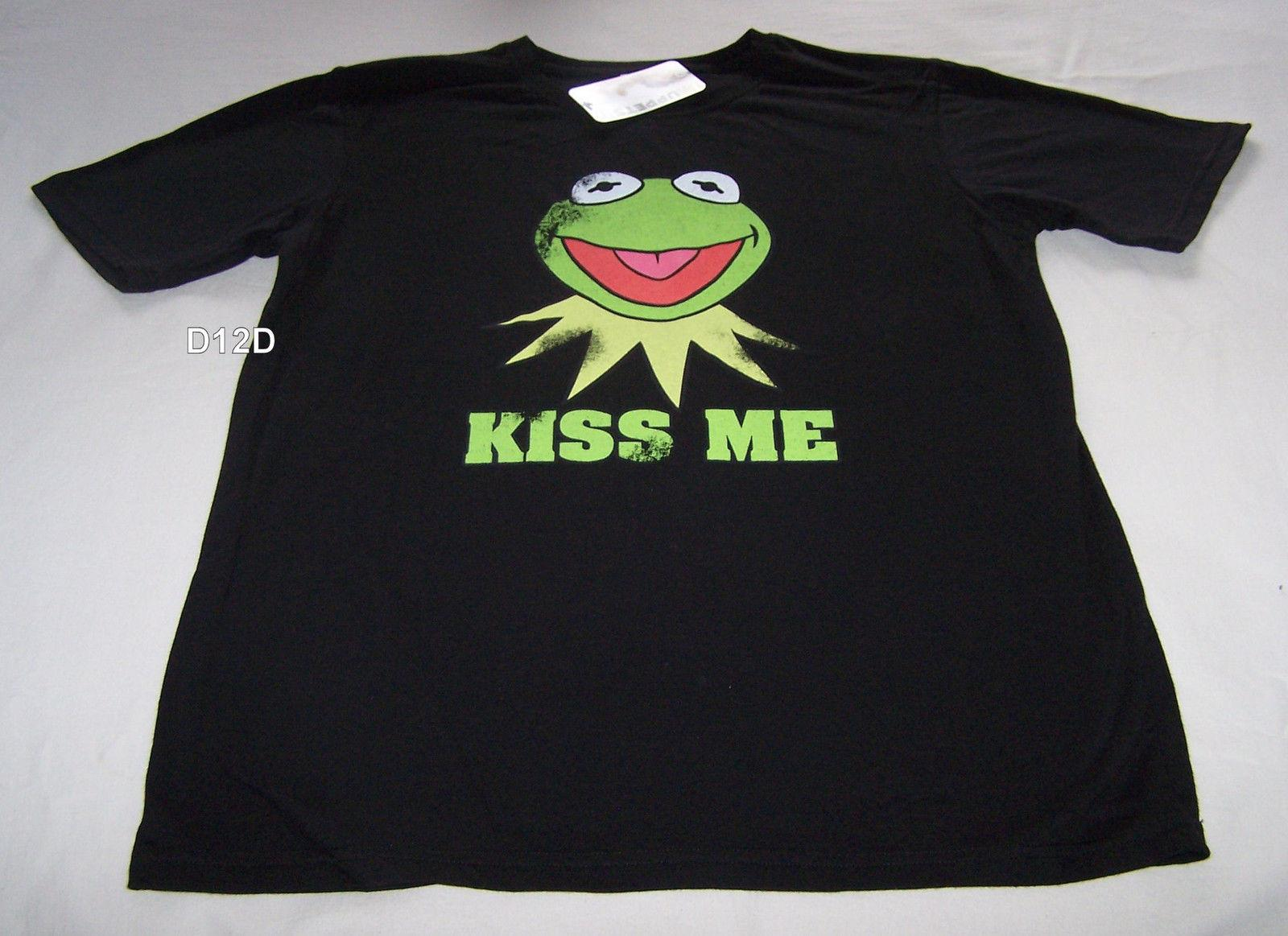 b0b39957 The Muppets Kermit The Frog Mens Black Kiss Me Printed T Shirt Size S New  New High Quality Top Tee Print Tshirt And Shirt Shirts Cool From  Spidermantees, ...