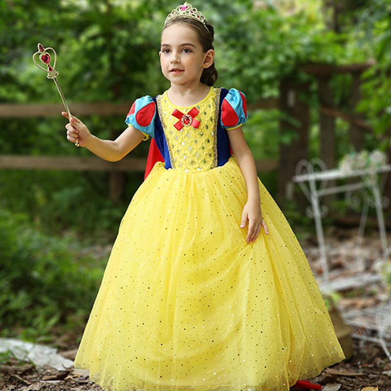 9f6bb9d5be07d Summer Princess Snow White Sequins Cosplay Dress Girls Tulle Long Dress  Kids Ball Gown Halloween Party Birthday Clothes BW261