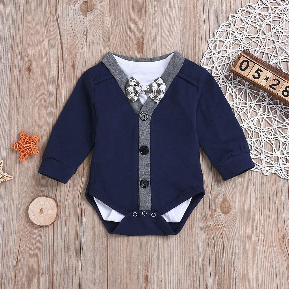 e60283c0edfe7 good quality Kids clothes boys 2PCS Baby Long Sleeve Gentleman Coat  Romper+Bowknot Jumpsuit Set Outfit Winter clothes for baby roupas