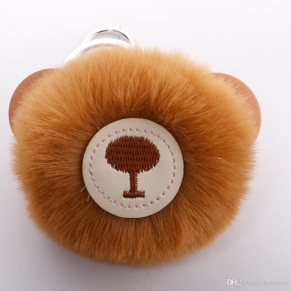 Cute PU bear keychain imitation rabbit hair ball pendant Hot lady bag pendant creative gift H016