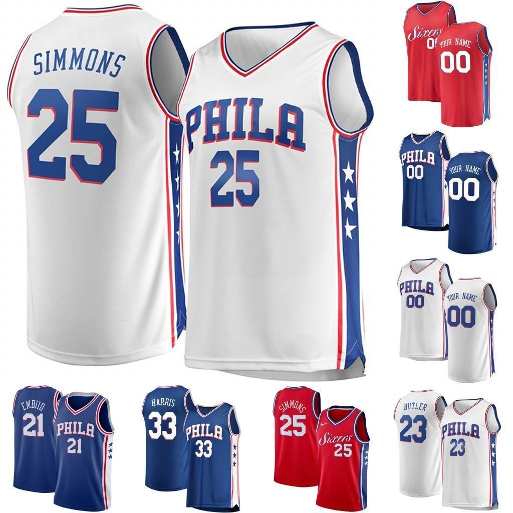 the latest 0bb30 6b21f Mens Philadelphia Jersey Simmons McConnell 1 Mike Scott 5 Amir Johnson 55  Greg Monroe 33 Tobias Harris Butler Embiid Basketball Jersey