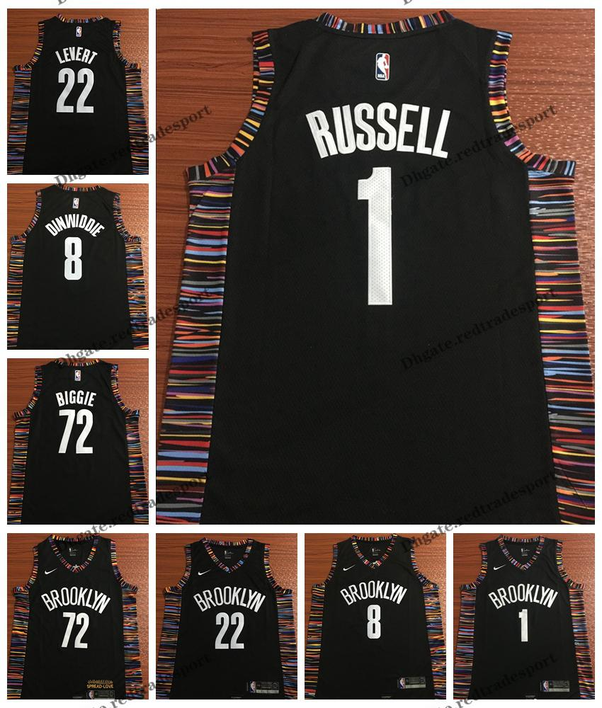 the latest 28c94 0ea31 2019 Earned #1 Brooklyn D'Angelo Russell Caris LeVert Biggie Smalls Spencer  Dinwiddie Nets Edition Basketball Jerseys City Stitched Shirts