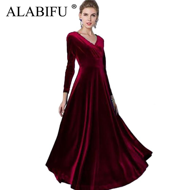 01c9d85a0974b Alabifu Autumn Winter Dress Women 2019 Casual Vintage Ball Gown Velvet  Dress Plus Size 3xl Sexy Long Party Dress Vestidos Y19021414