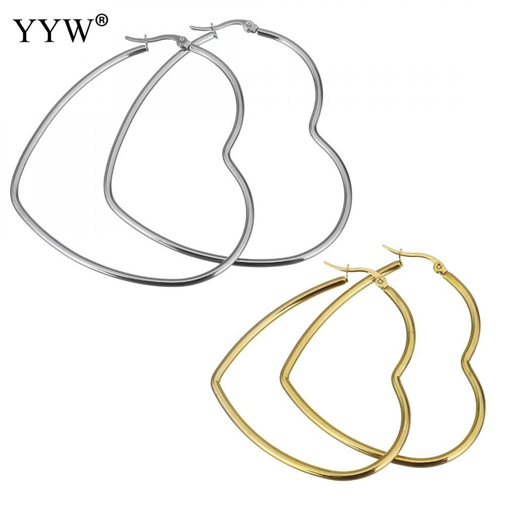 2a12856de 2019 Stainless Steel Hoop Earring Heart Gold/Silver Color Big Hoop Earring  For Women Girl Statement Party Jewelry Gifts From Milknew, $35.08 |  DHgate.Com