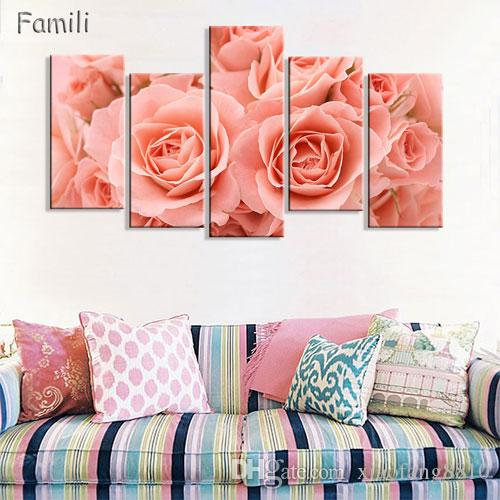 Hot Sale 5 Piece Wall Art Blue Rose Canvas Paintings Decorate Living Room Sofa Background Modern Blue Rose Flower Oil Painting