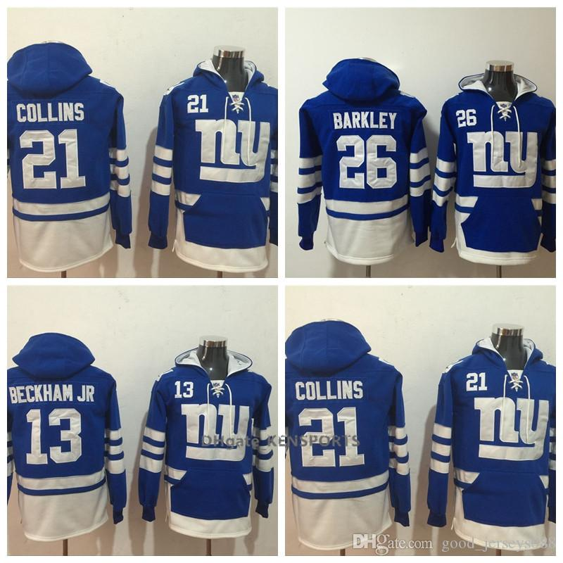 timeless design a2fa2 d59e6 Men New York Giants Hoodie 26 Saquon Barkley 21 Landon Collins 13 Odell  Beckham Jr American Football Stitched Pullover Sweatshirt