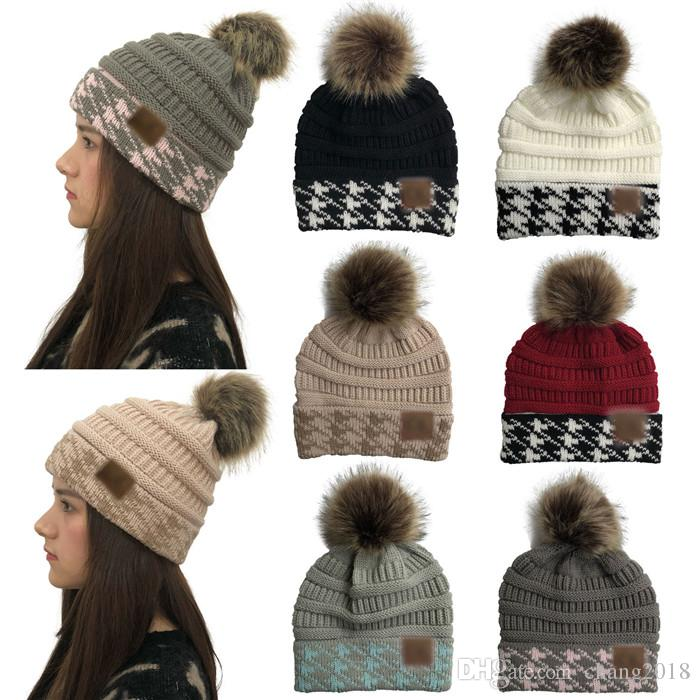 Designer Hats Women Winter Warm Knitted Hats Swallow Gird Patchwork Beanie  CC Faux Fur Pom Pom Ball Skullies Casual Ski Caps Fg020 Designer Hats  Designer ... bcdf2b28c45