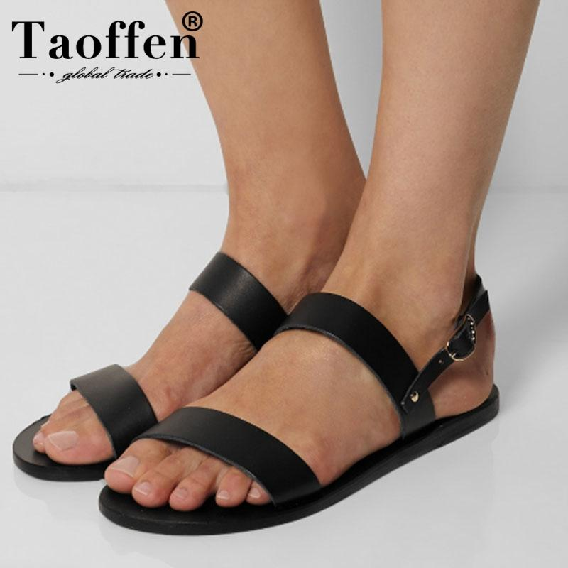 3548e03ff TAOFFEN Simple Women Real Leather Flast Shoes Open Toe Ankle Strap Sandals  Summer Daily Leisure Beach Shoes Women Size 34 43 Platform Heels Black  Sandals ...