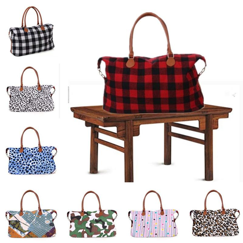 Floral Plaid Dots Leopard Camo Handbag Large Capacity Travel Duffel Women Shoulder Bags Designer Tote Sports Yoga Weekender bag Hot A42201
