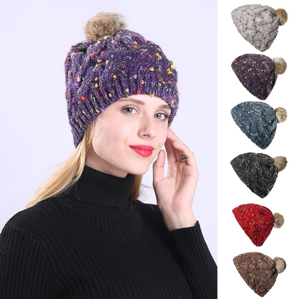 f7c2b5ae67c 2019 Cable Knitted Bobble Hat Plain Mens Womens Beanie Warm Winter Pom Cap  Woman Hats Winter Accessories Knitting Daily Wear From Kupaoliu