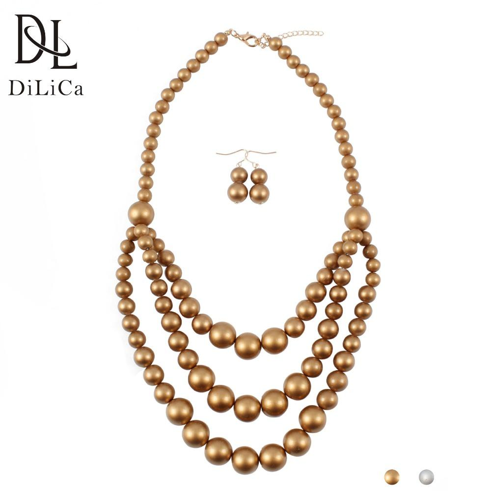 3ddb72c20cc 2019 Wholesale Fashion Women'S Jewelry Sets Multi Layer Imitation Pearl  Statement Necklace Earrings Costume Jewelry Set Bijoux De Perles From  Diannecklace, ...