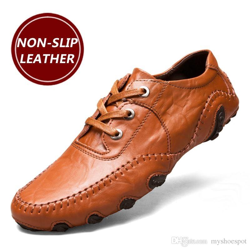 075ee3a3e7 Men's Casual Shoes Hot Sale Lace-Up Male Adult Genuine Leather Autumn  Winter Walking Driver Quality Footwear Zapatos Sapato #338885