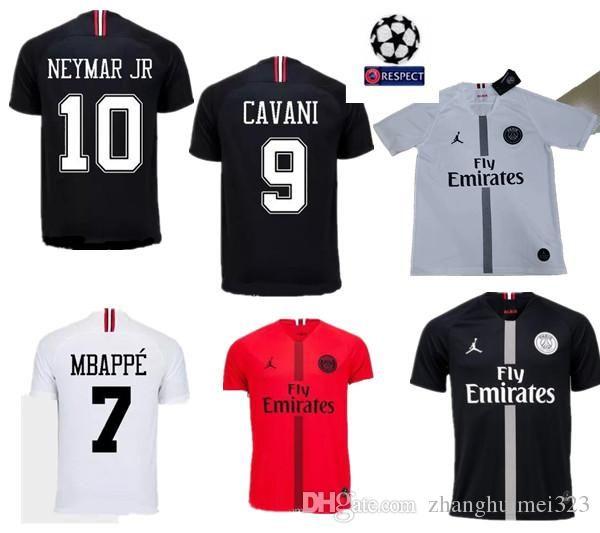 online retailer 3f049 5f60c PSG Champions league Soccer Jersey 18/19CAVANI #9 #7 MBAPPE White Soccer  Shirt 2019 Black PSG Football Uniform With Patches