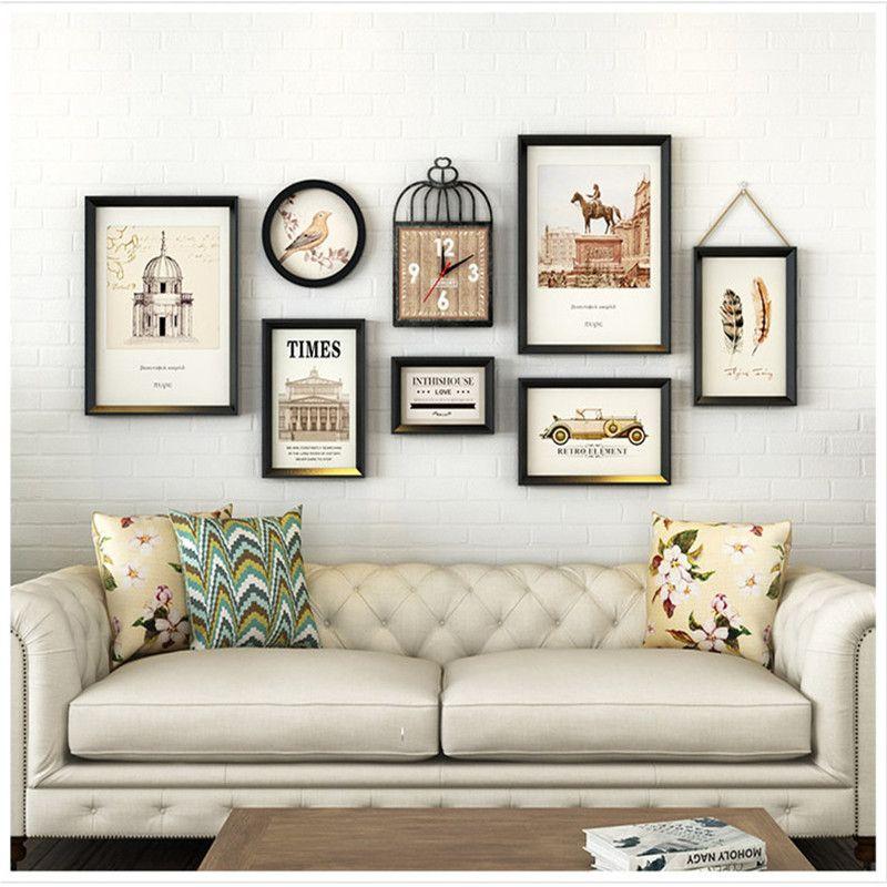 Acheter Salon Décoration Cadre Photo Cadre Photo Avec Horloge Plante