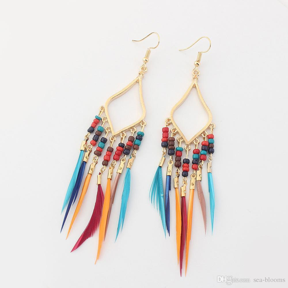 bb4af13ef98cb Free DHL 5 Colors Women Vintage Boho Multicolor Long Feather Tassel Dangle  Earrings Jewelry Beads Feather Earrings Party Accessories H59R