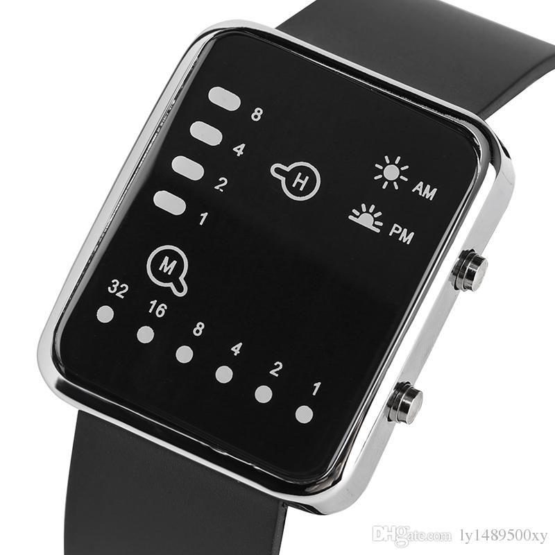 b7c4dcc0ddf7 Compre Reloj Azul Binario LED De Los Hombres Creativo Cuadrado Dial Único  Digital Negro Banda De Silicona Reloj De Pulsera Niño Hombre Mujer Reloj  Regalos ...