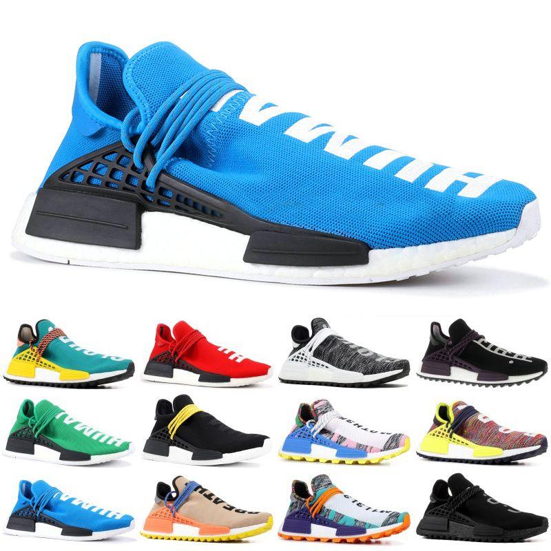 100% authentic d3464 c74cf 2019 new Human Race Hu trail pharrell williams men running shoes Nerd black  blue women mens trainers fashion sports runner sneakers 36-45