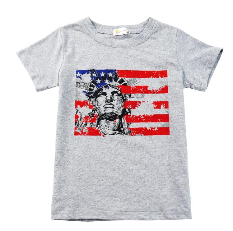 Kid Striped Print T-Shirt American Flag Independence National Day USA 4th July Statue Of Liberty Pattern Star Round Neck Grey T-Shirt BY1144