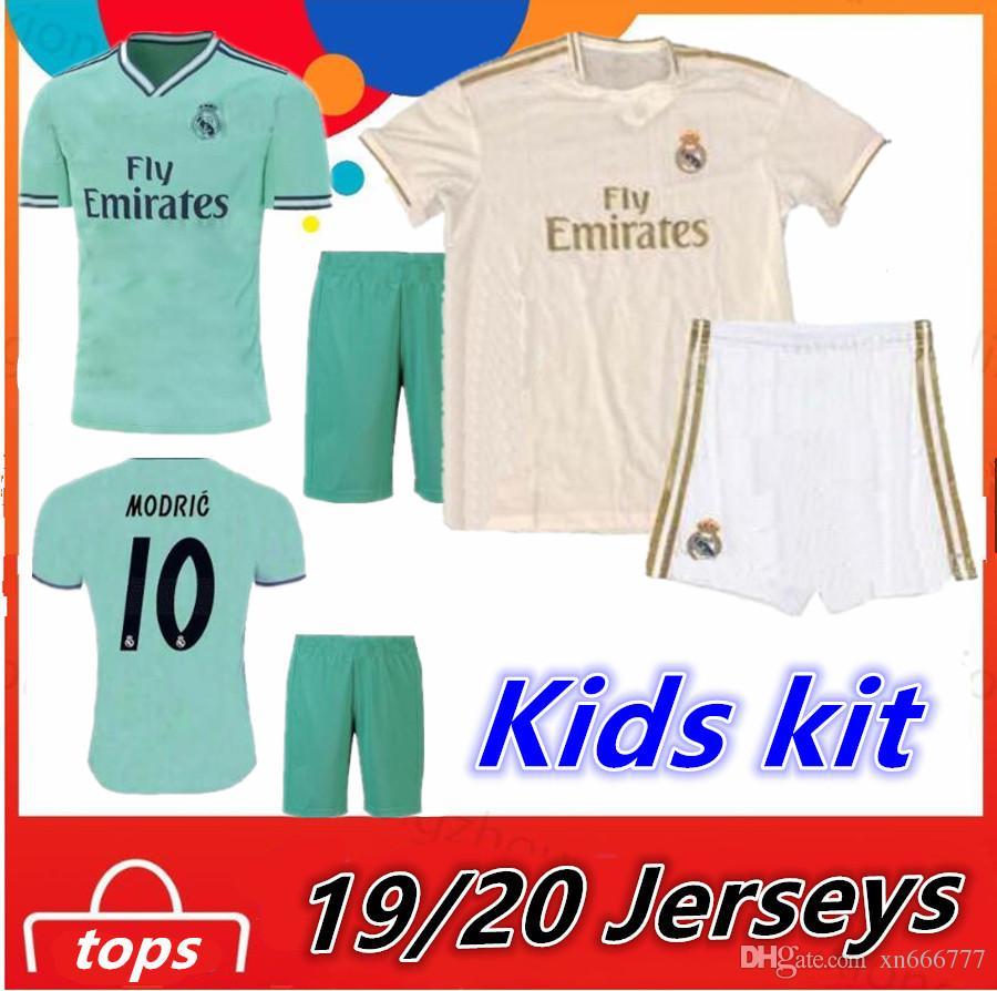 new concept ec3d4 753b0 Real Madrid 2019 2020 Kids Kit maillot ASENSIO RONALDO HAZARD Benzema Third  soccer jerseys sets 19 20 ISCO boys kit football jersey shirts