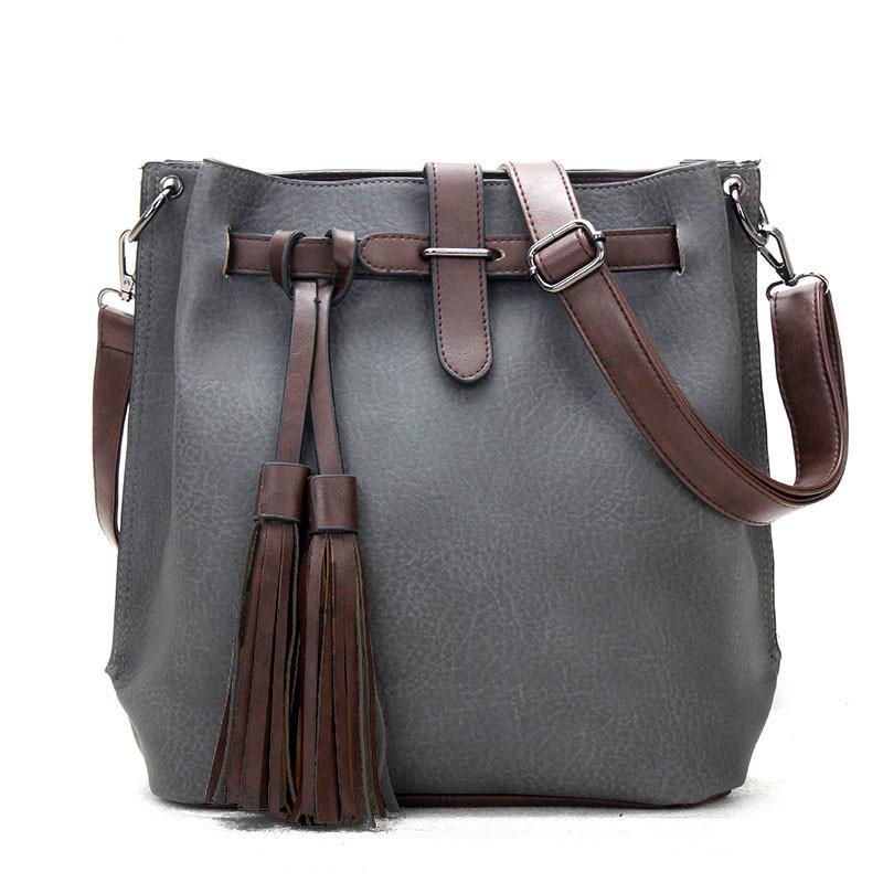 7fbba6ff9aa3 Ladies Vintage Leather Shoulder Bag Women Handbags Female Retro Bucket  Messenger Bags High Quality Tassel Designer Crossbody Bag Sac A Main  Satchel Handbags ...