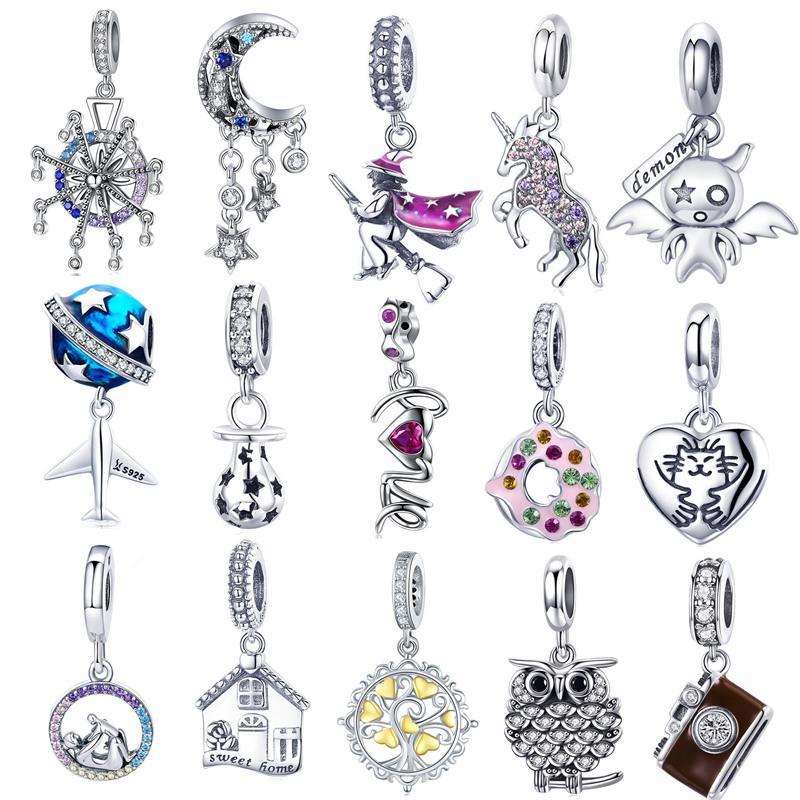 6508fcbbe75 ... 925 Balai Volant Bat Garçon Pendentif Perles Ancre Étoile De Lune CZ  Amour Cadeau Charme Fit Bracelet Pandora De  17.46 Du Guichenearring