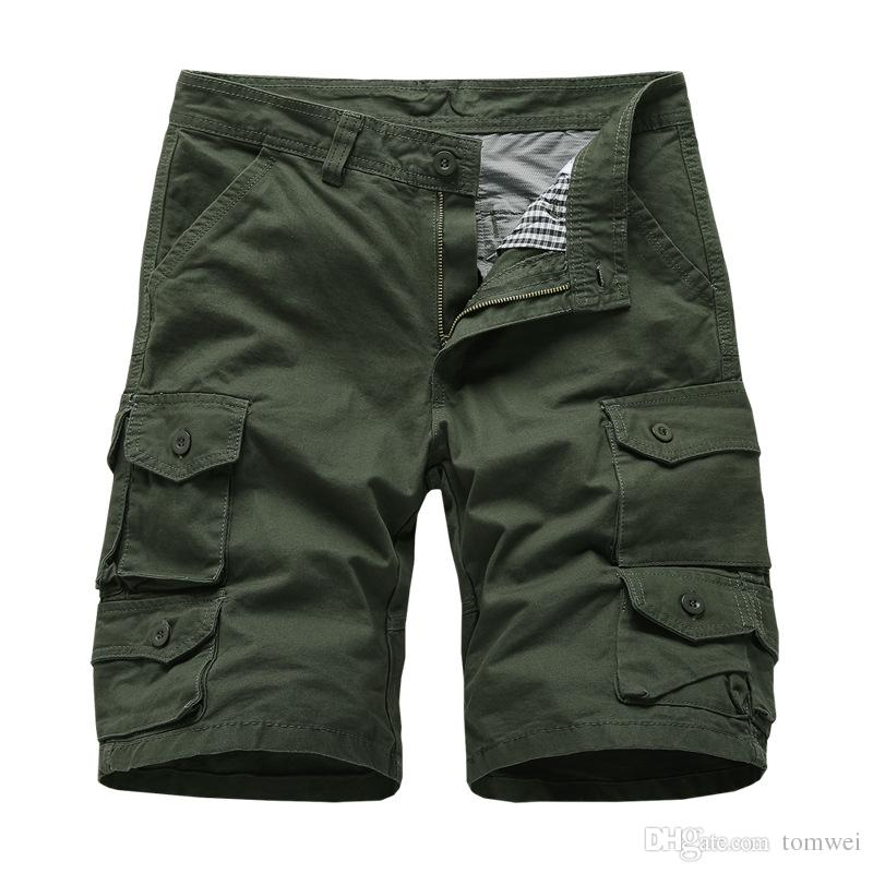 Mens Military Cargo Shorts Multi-Pockets Casual Short Pants Plus Size Cotton Shorts Brand Clothing 2019 Free Shipping