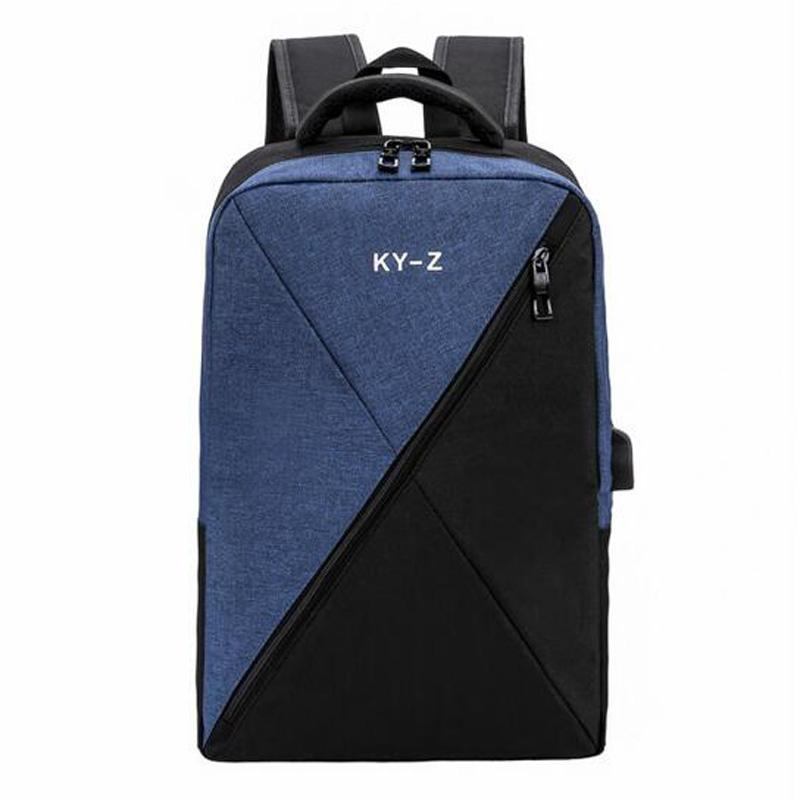 School Bags For Boy Girls Large Capacity Stitching Women Men Backpack Male Female USB Interface Laptop Backpack Travel Backpack