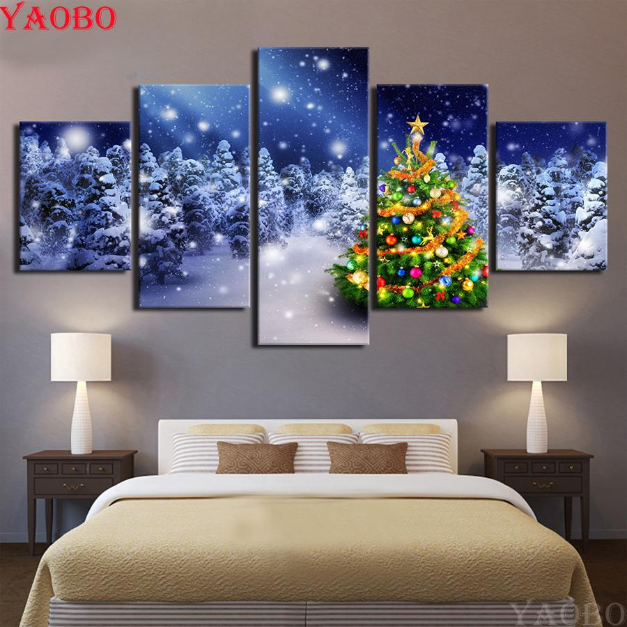 5 Pieces diy Diamond painting Christmas tree Diamond Embroidery full square/round 3d pictures mosaic cross stitch needlework