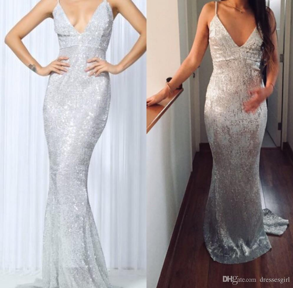 3096adbd02c7 2019 Silver Sequined Spaghetti Mermaid Prom Dresses V Neck Evening Party Gown  Sleeveless Special Occasion Dresses Halter Prom Dress Hippie Prom Dresses  From ...