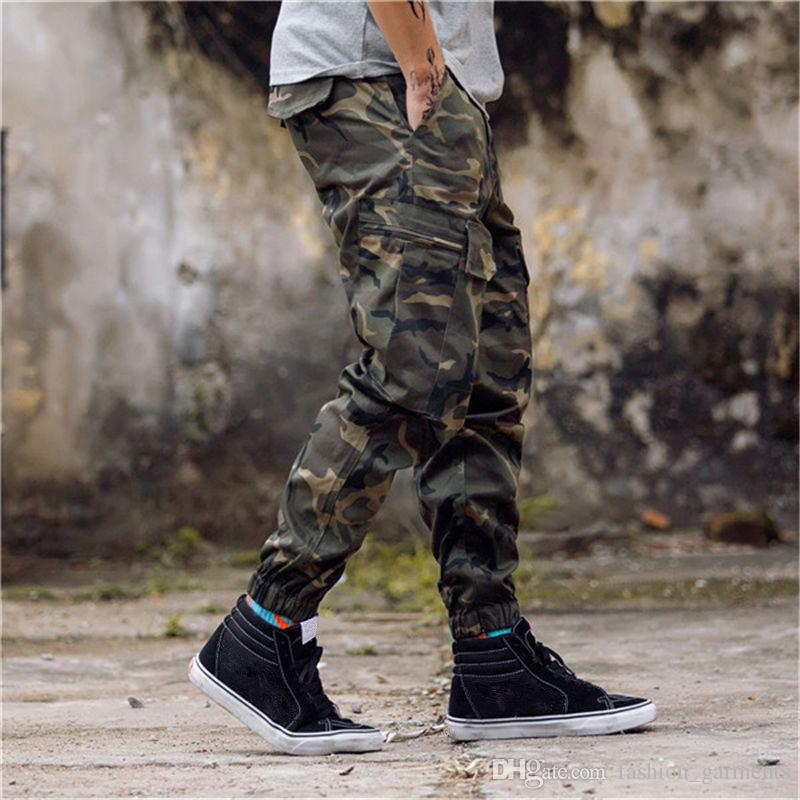 New Arrival Mens Pants Fashion Camouflage Jogging Pants Womens Zipper Overalls Beam Foot Trousers Irregular Joggers Pants