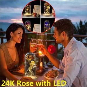 LED Forever Rose Glass 4 Colors 24k Gold Plated Wooden Base Rose Flower Led Light Glass Dome Valentine's Day Novelty Items 50pcs OOA6125