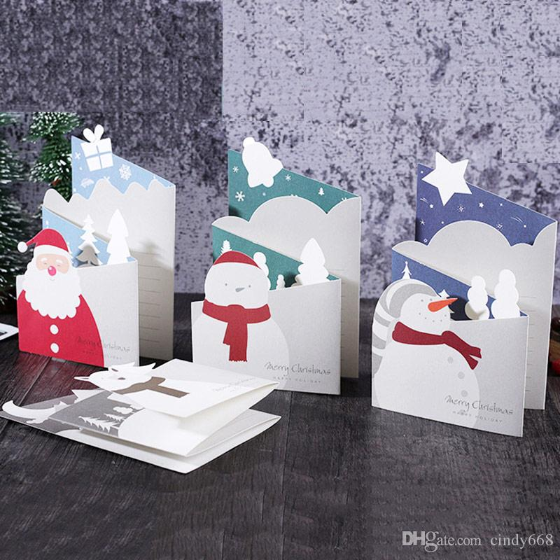 12 Pcs Christmas Cards Fresh Simple Greeting Cards With Envelope Blessing Card Tri-Folding 3d Post Card Invitation New Year Cards