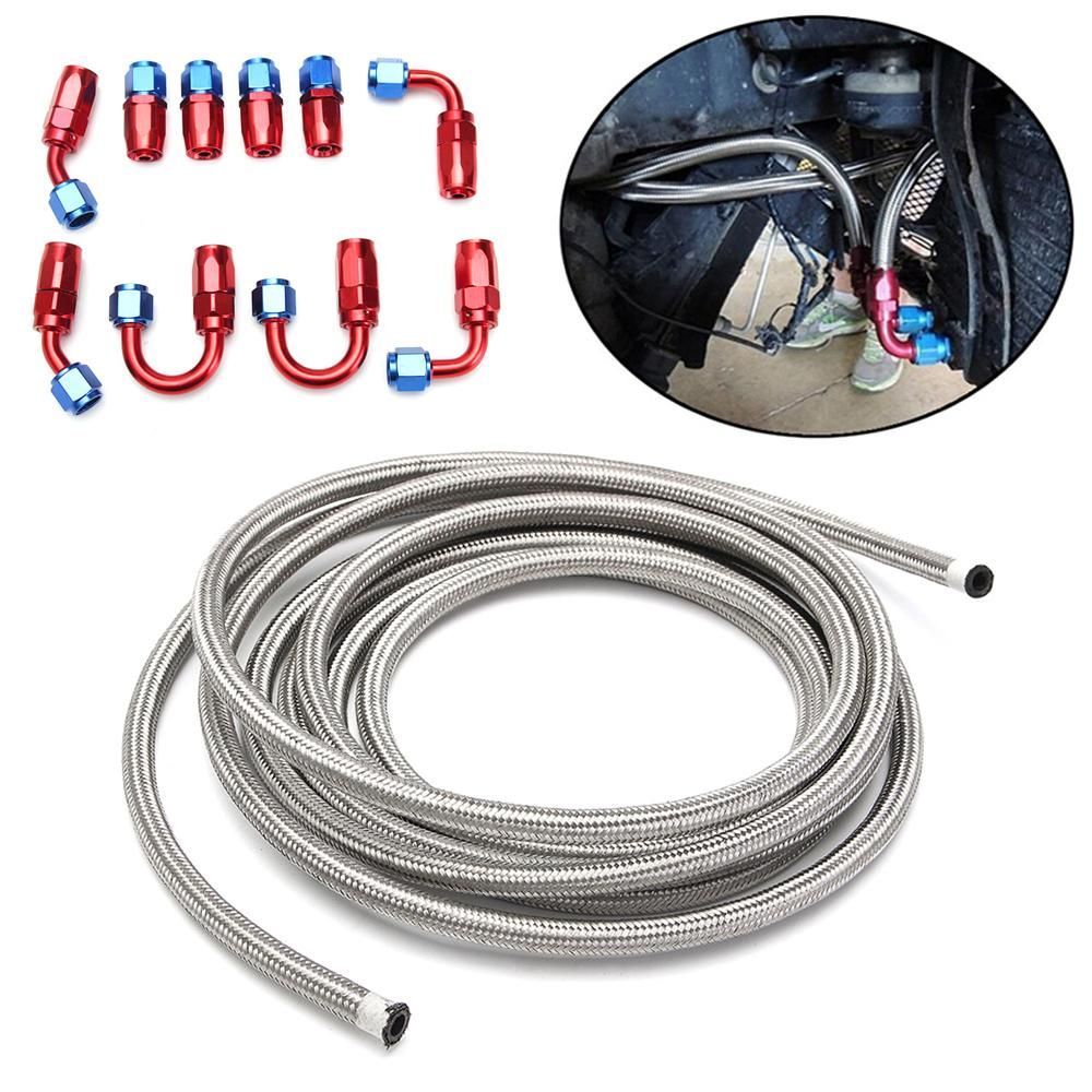 6 Meters Silver AN6-6AN Stainless Steel Braided Hose + Swivel Fitting Kit Accessories Hose Kit Hand Tool Set