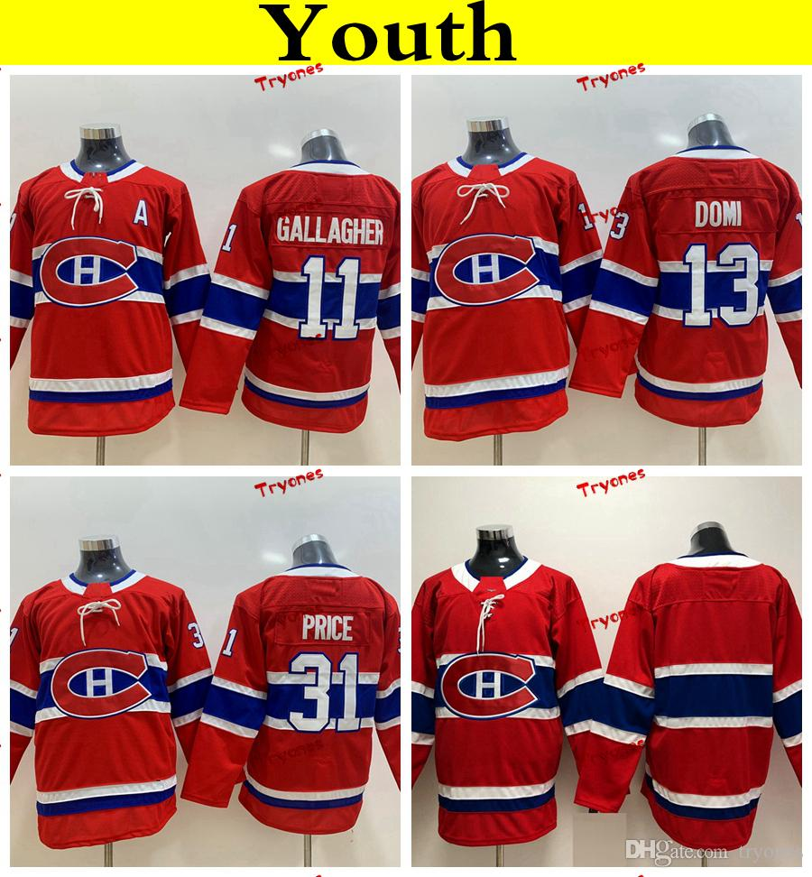low priced 05f7f b6c87 Youth Montreal Canadiens 2019 31 Carey Price 11 Brendan Gallagher 13 Max  Domi Hockey Jerseys Cheap Ladies Kids Girls Boys Stitched Shirts