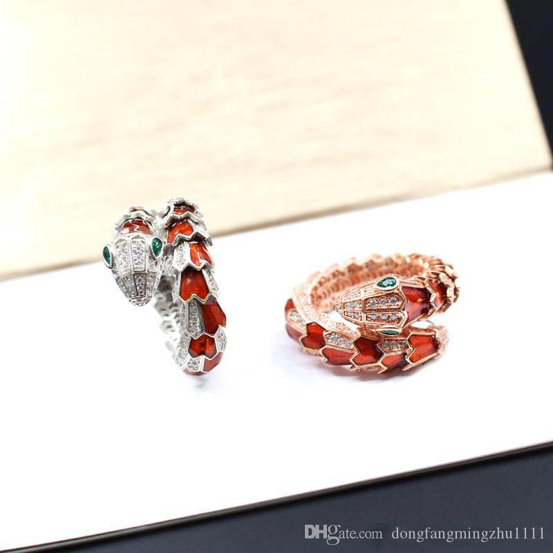 925 Sterling Silver Rings Designer Jewelry Women Rings Engagement Wedding Sets Diamond Bling Snake Style Charms Iced Out
