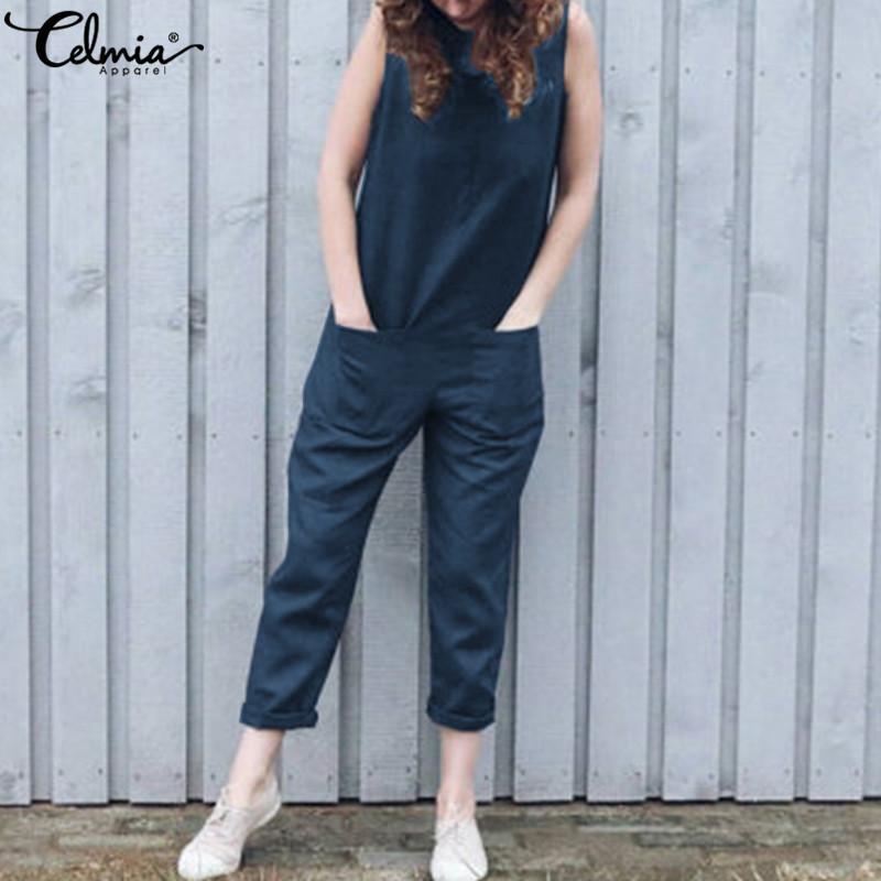 f7308e06cfb Celmia Summer Long Rompers Women Jumpsuits Casual Sleeveless Linen ...