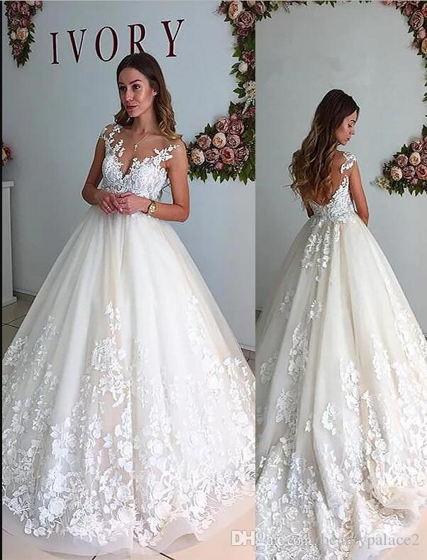 Hot Selling A Line Lace Wedding Dresses O Neck Sweep Train Tulle Appliques White Sexy Wedding Bridal Gowns With Sheer Low Back