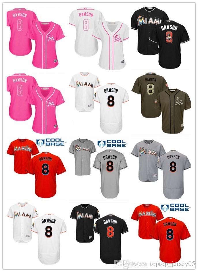 meet 261c4 e5ceb 2018 top Miami Marlins Jerseys #8 Andre Dawson Jerseys men#WOMEN#YOUTH#Men  s Baseball Jersey Majestic Stitched Professional sportswear