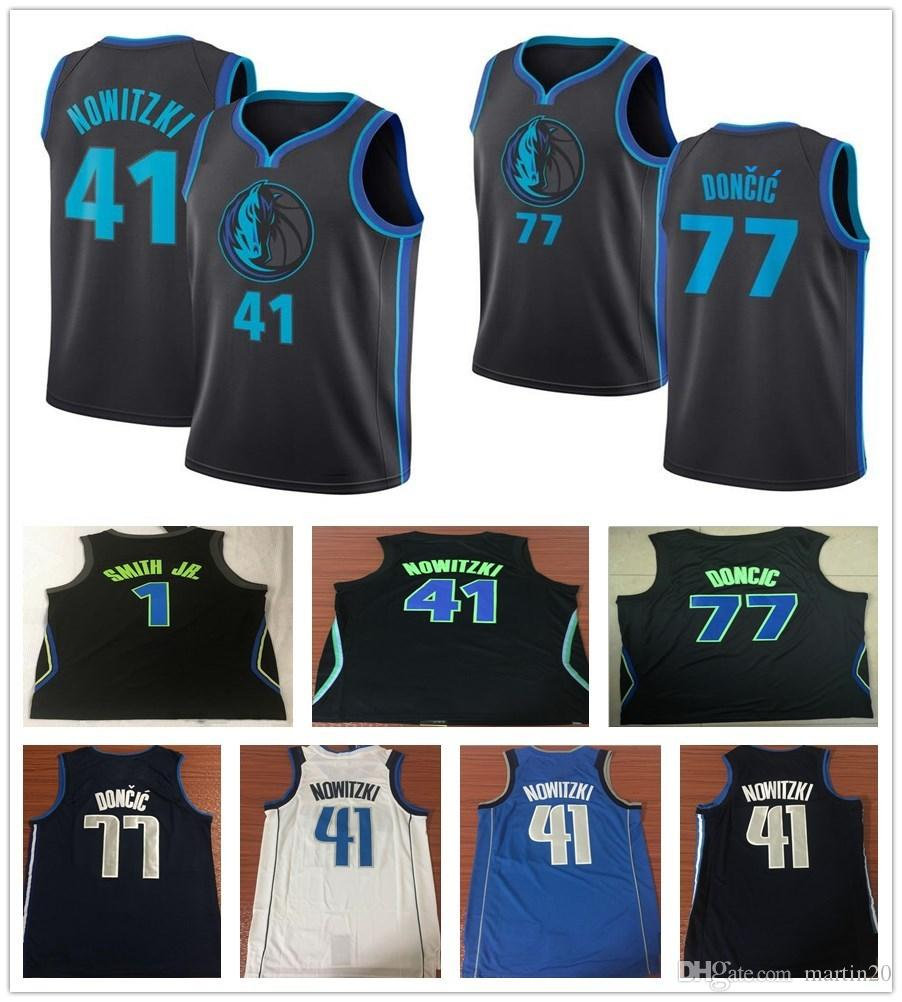 a33dd31d580 2019 2019 New City Edition Navy Blue 41 Dirk Nowitzki Jersey White Black  Sportswear 1 Dennis Smith Jr. 77 Luka Doncic Jerseys Breathable Shirt From  ...