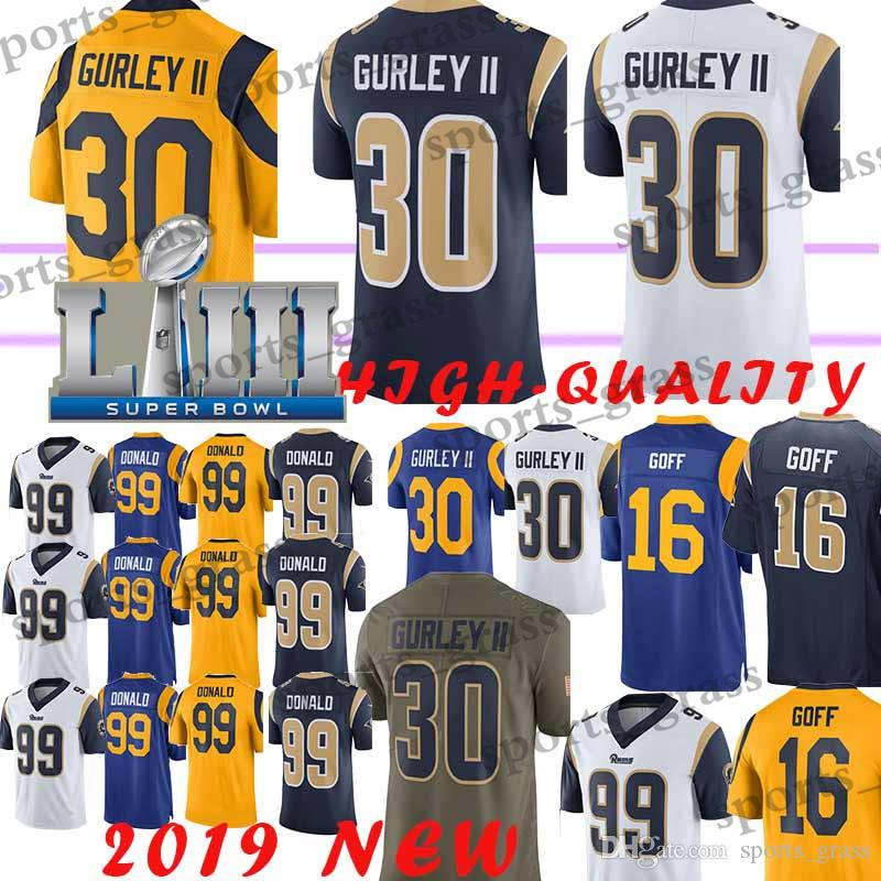 official photos c23da a2a62 Top quality 30 Todd Gurley Los Angeles Rams jerseys 99 Aaron Donald 16  Jared Goff jersey 2019 new promotion