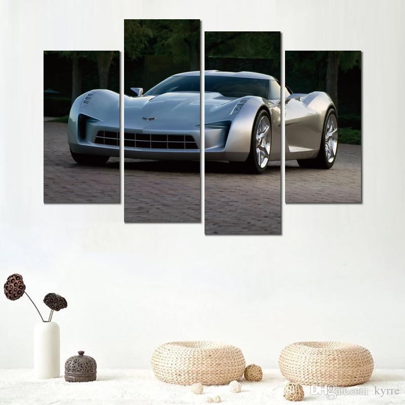 Wall decoration 4 panels prints canvas piantings chevrolet corvette stingray gray picture for living room no frame