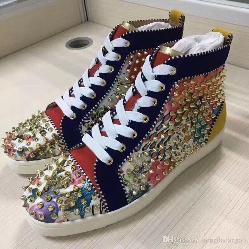 [Original Box]Gold Spikes High Top Red Bottom Fashion Sneakers, Unisex Luxury Designer Brand Footwear Flats,Comfortable Casual Shoes