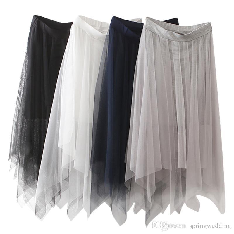 d7e8df6dc Faldas de tul Moda Para Mujer Elástico Malla Alta Cintura Falda Tutu Blanco  Negro Gris Faldas largas Falda Midi saias faldas jupe femme CPA1299