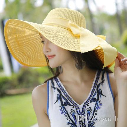 9334c68fde2 Beach Hat Sunshade Summer Straw Hat Woman Foldable Sunscreen Sun Hat Travel  Seaside Take a Vacation Hat Online with  12.5 Piece on Lcjl s Store