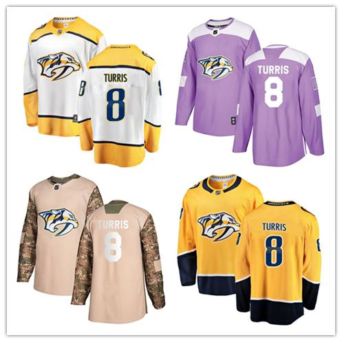 sale retailer 4e22b f44a6 Nashville Predators jerseys #8 Kyle Turris Jersey hockey men women youth  gold yellow white home Breakaway Stiched authentic Jerseys