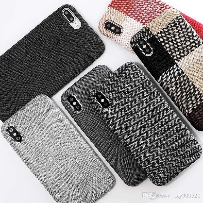 ead227712f SoCouple Cloth Texture Soft Case For Iphone 7 Case Ultra Thin Canvas Grid  Pattern Phone Cases For Iphone 6 6S 7 8 Plus X Xs Max Customize Your Own  Cell ...