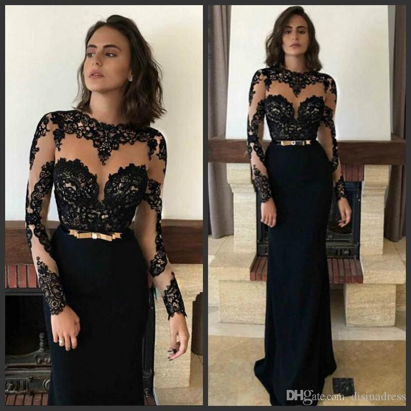 Black Sexy Lace Prom Dresses Illusion Long Sleeves 2019 Fashion Formal Arabic Muslim Evening Dress Floor Length Women Party Gowns
