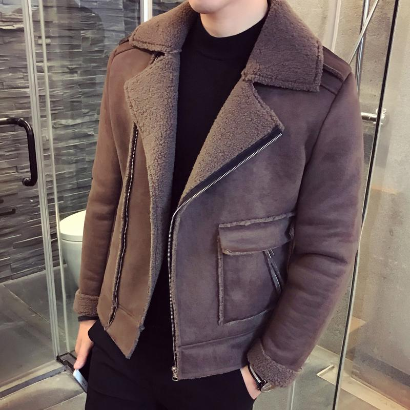 78976ca92 2018 New Winter Motorcycle Deer Skin Plus Velvet Thickening Casual Original  Chinese Style Trend Retro Men s Jacket