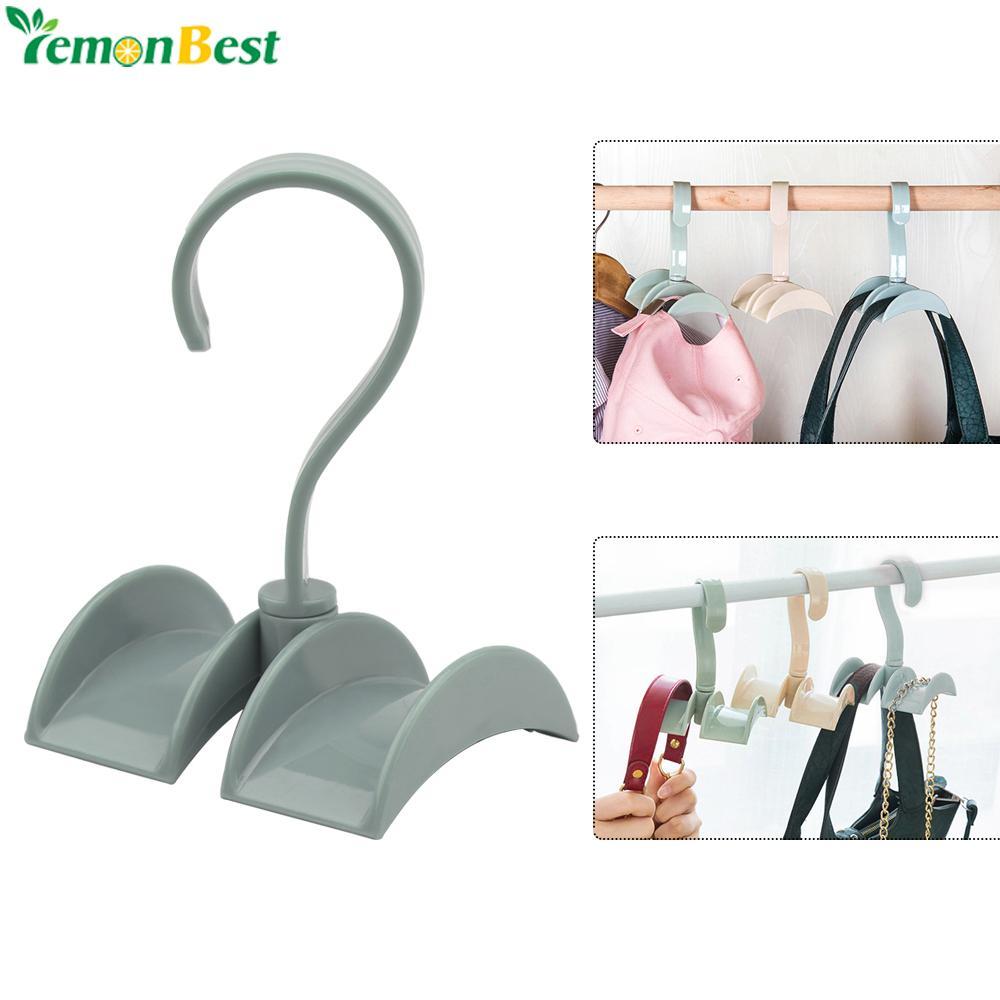 Bathroom Fixtures 1pc Rotatable Plastic Hooks Handbag Holder 4-hooks Purse Bag Hanger Hanging Rack Storage Organizer Shelf Hanger Hanging Rack